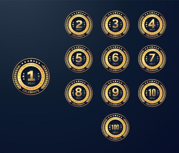 Medalla de oro calebrate set premio insignias etiquetas