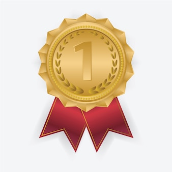 Medalla de oro con cinta roja.