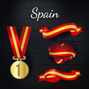 Medalla de oro y colección de lazos de españa