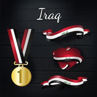 Medalla de oro y colección de lazos de iraq