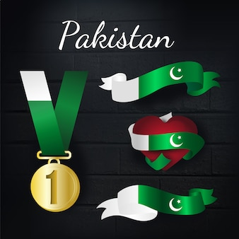 Medalla de oro y colección de lazos de paquistán