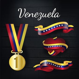 Medalla de oro y colección de lazos de venezuela
