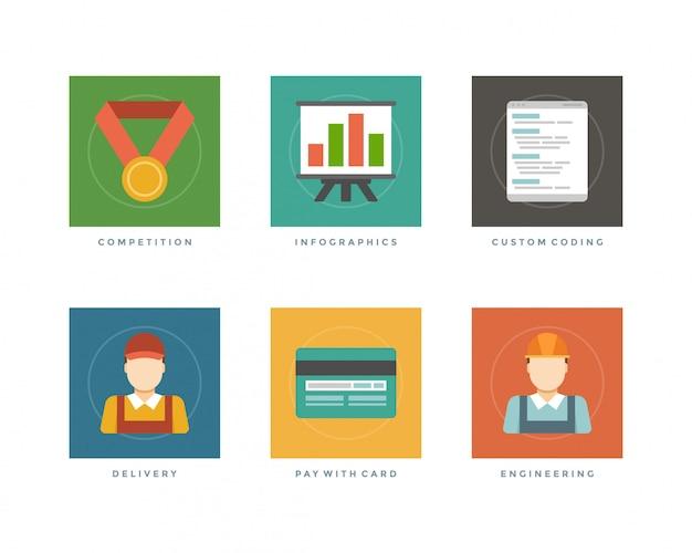 Medalla de oro de la competencia de diseño plano de negocios, infografías, codificación personalizada, repartidor, pago con tarjeta de crédito