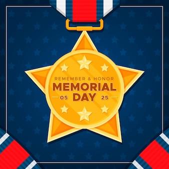 Medalla de oro diseño plano memorial day