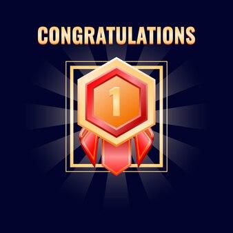 Medalla de oro con interfaz clasificada adecuado para juegos 2d
