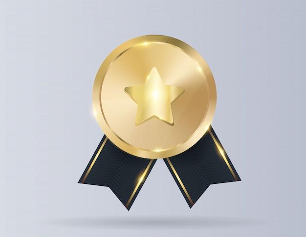 Medalla de oro con lazo rojo.