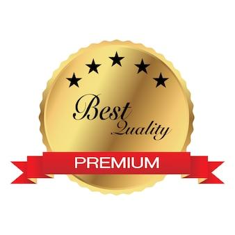 Medalla de oro con el mejor concepto de calidad de cinco estrellas para productos de tamaño web o promoción.