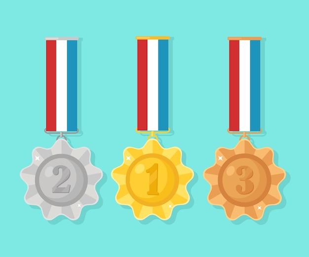 Medalla de oro, plata, bronce para el primer lugar. trofeo, premio al ganador sobre fondo azul. conjunto de placa dorada con cinta. logro, victoria. ilustración
