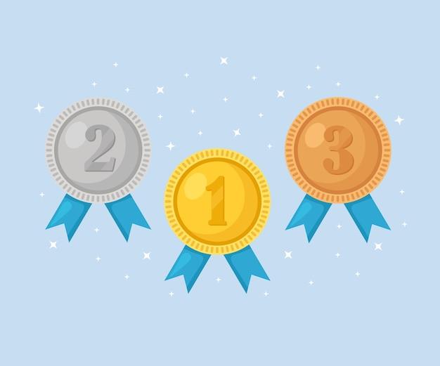 Medalla de oro, plata, bronce para el primer lugar. trofeo, premio al ganador sobre fondo azul. conjunto de placa dorada con cinta. logro, victoria.