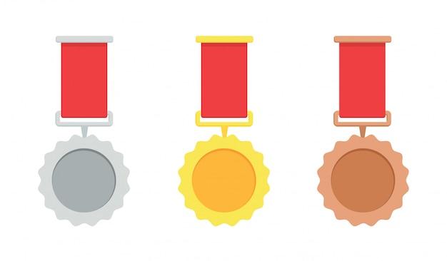 Medalla de oro, plata y bronce. trofeo con cinta roja.