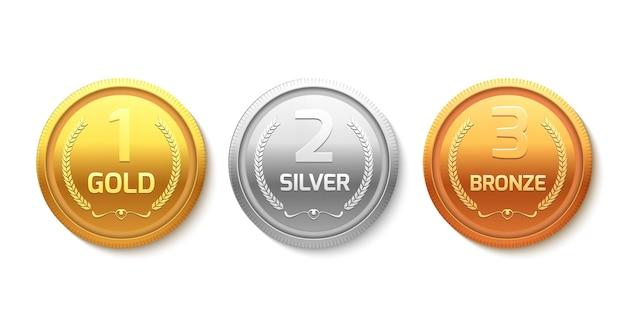 Medalla de oro, plata y bronce