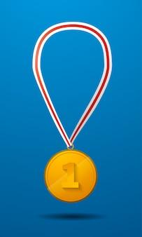 Medalla de oro para el primer lugar con el icono de vector de cinta