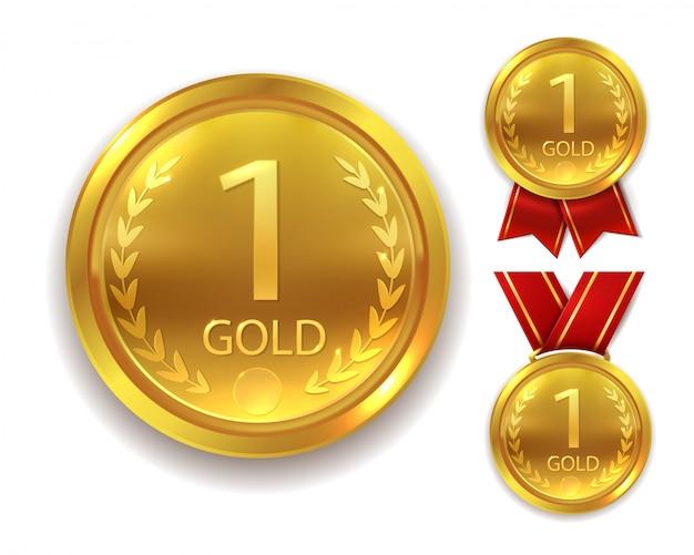 Medalla de premio realista. ganador medalla de oro para primer lugar trofeo campeón honor mejor premio de ceremonia de círculo brillante con cinta, conjunto