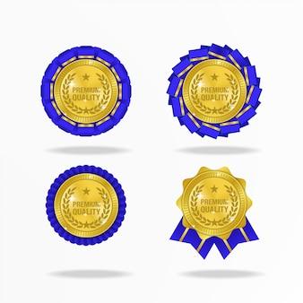 Medalla realista para calidad premium con cinta de flores