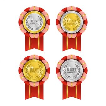 Medalla realista que combina oro y plata para el mejor premio