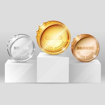 Medallas deportivas en diseño de pedestal