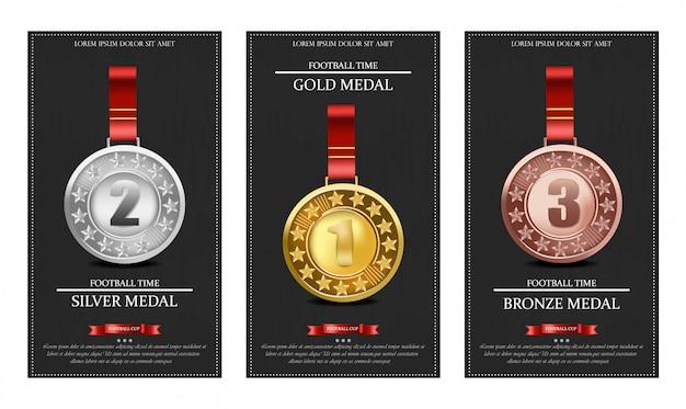 Medallas doradas de plata y bronce