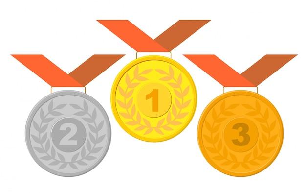 Medallas ganadoras con conjunto de cintas
