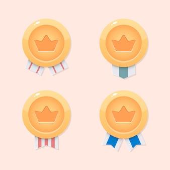 Medallas, monedas de corona para juegos móviles. diseño de juego de interfaz de usuario
