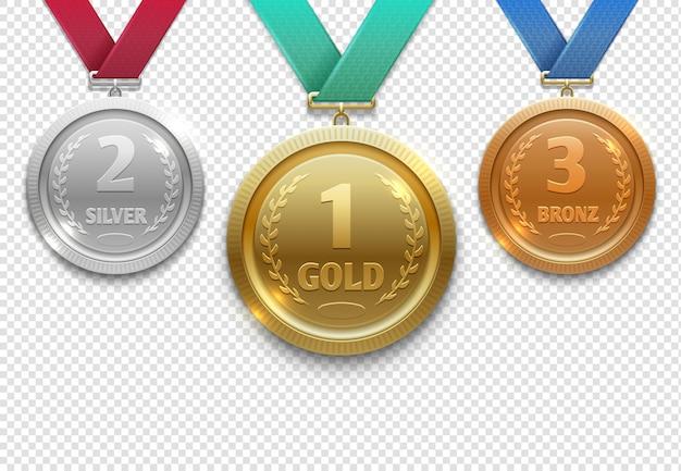 Medallas olímpicas de oro, plata y bronce, conjunto de premios de honor ganador.