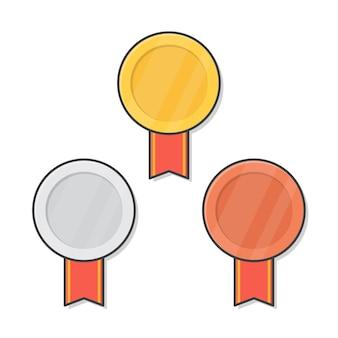 Medallas de oro, plata y bronce con cinta roja ilustración. 1er, 2do, 3er lugar insignias planas