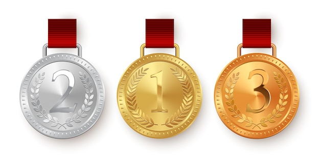 Medallas de oro, plata y bronce con cintas rojas aisladas sobre fondo blanco.