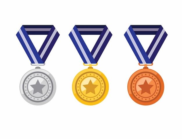 Medallas de oro plata bronce en conjunto de iconos de estilo plano
