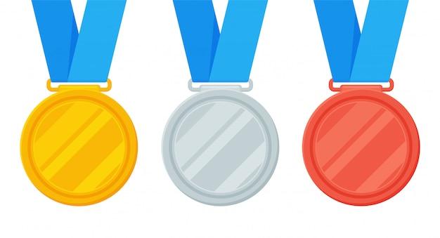 Las medallas de oro, plata y bronce son el premio del ganador de un evento deportivo.