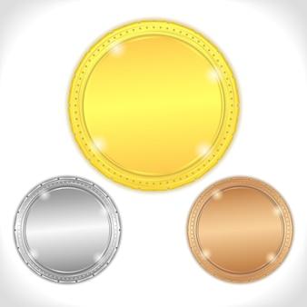 Medallas de oro, plata y bronce
