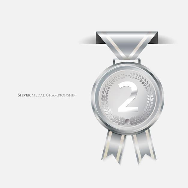Medallas de plata campeón con cinta.