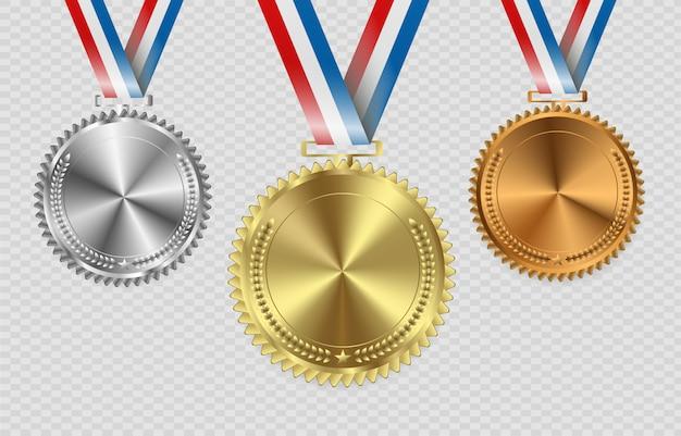 Medallas de premio aisladas sobre fondo transparente. ilustración del concepto ganador.