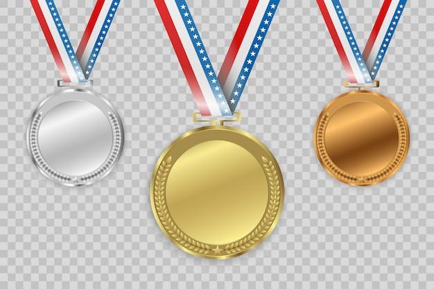 Medallas de premio aisladas sobre fondo transparente.