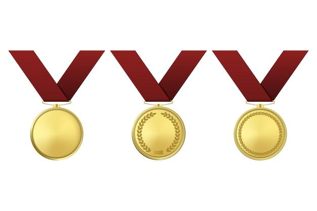 Medallas de premio de oro en fondo blanco.