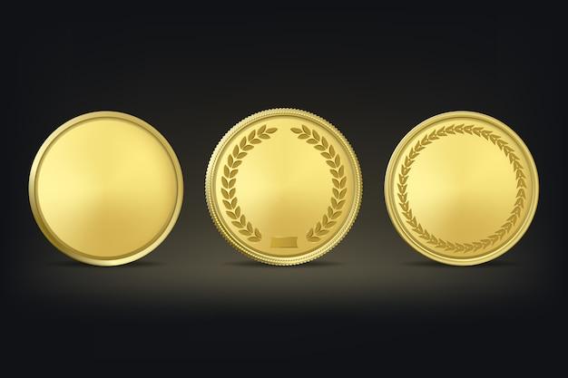 Medallas de premio de oro en fondo negro.
