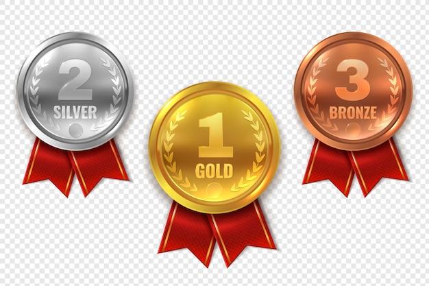 Medallas de premio realistas. ganador medalla oro bronce plata primer lugar trofeo campeón honor premio mejor círculo ceremonia premio
