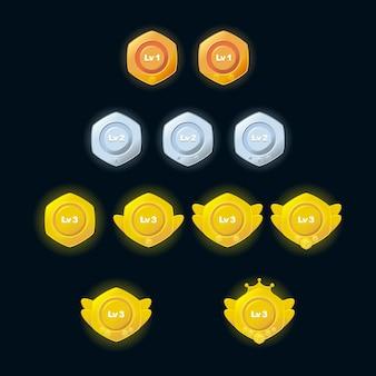 Medallas de premios premium para el juego de interfaz gráfica de usuario. premio de plantilla de estrellas doradas de plata bronce