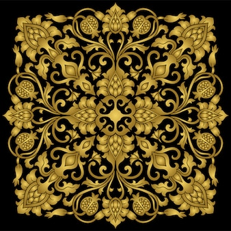Medallón floral dorado para el diseño.