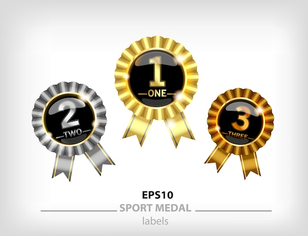 Medallón de oro, plata y bronce, medalla para ganadores primer y segundo lugar. sello dorado con cinta