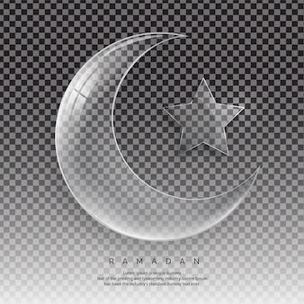 Media luna y cristal transparente star con destellos y reflejos. contiene transparencias, gradientes y efectos, concepto de ramadán.