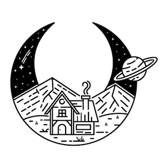 Media luna con diseño de paisaje vintage monoline