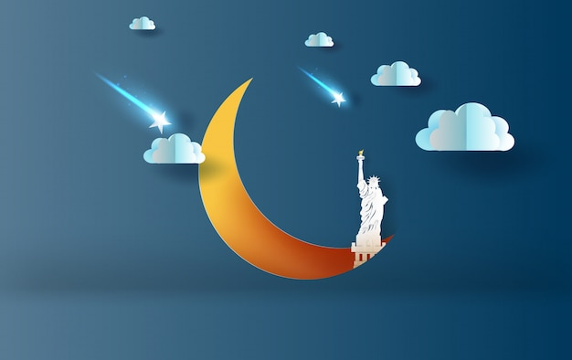 Media luna con la estatua de la libertad concepto de new york usa.