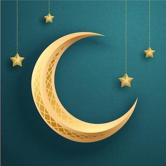 Media luna y estrellas colgando en el aire sobre fondo turquesa