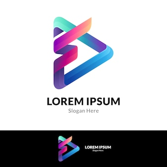 Media play y concepto de logotipo de combinación de letra f