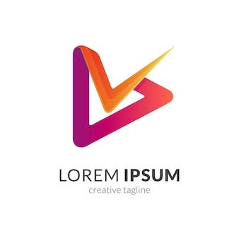 Media play y concepto de logotipo letra s