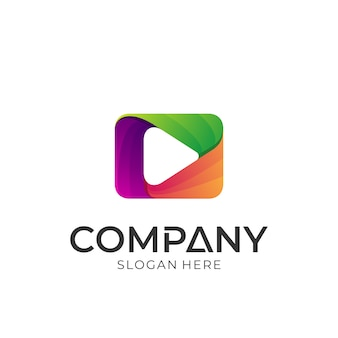 Media play diseño de logotipo colorido