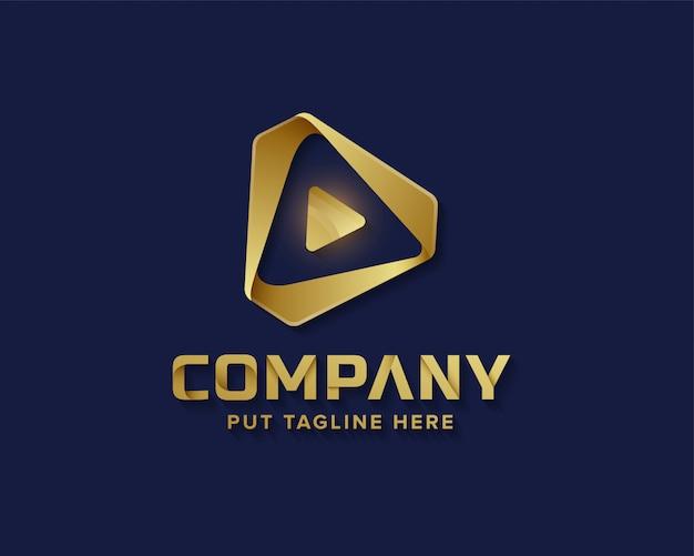 Media play logo dorado