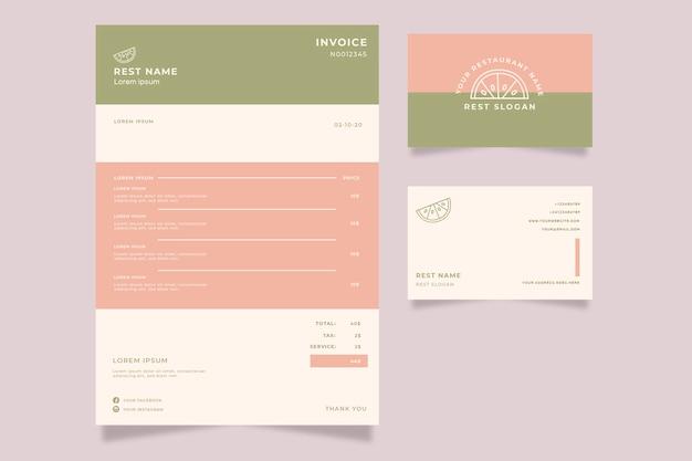 Media rodaja de plantilla de factura de limón y tarjeta de visita