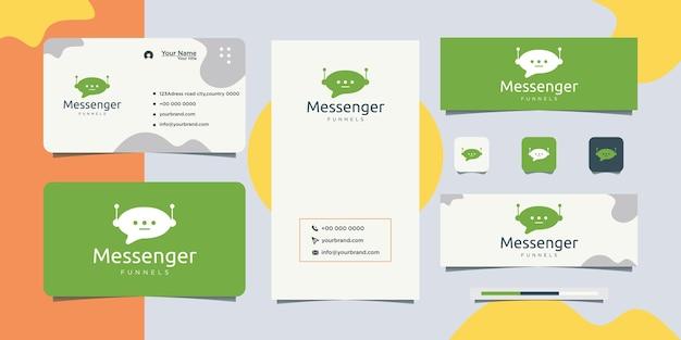 Media smile chat logo concepto logo y tarjeta de visita
