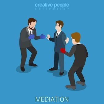 Mediación conflicto empresarial plano isométrico.