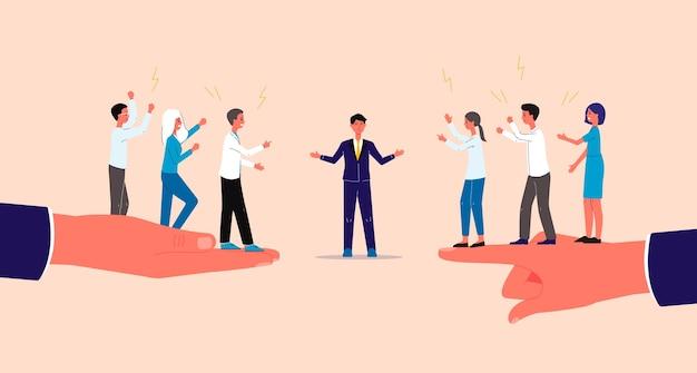 Mediador y resolución de conflictos con personajes de empresarios.